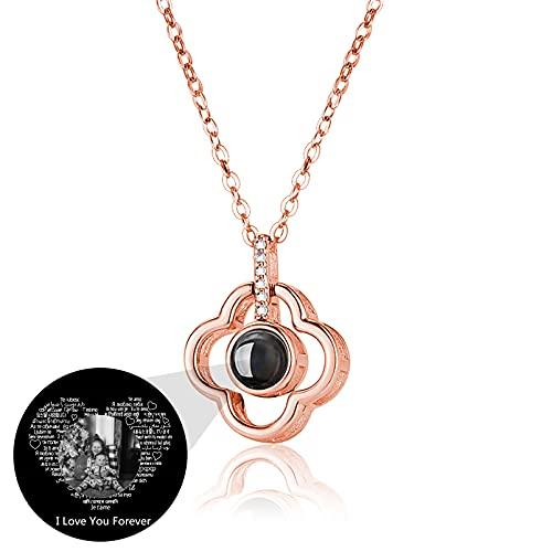 Collar Personalizado con Foto Te Amo en 100 Idiomas Collar de Promesa Collar de Proyección para Mujer(Oro rosa, blanco y negro 14)