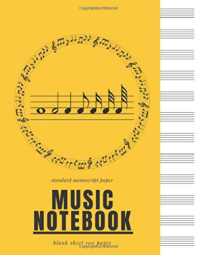 music standard notebook manuscript: lined Ruled Paper, Manuscript sheet For Notes, Lyrics And Music. For Musicians, Music Lovers, Songwriting, song ... . Book Notebook Journal 100 Pages 8.5x11 inch