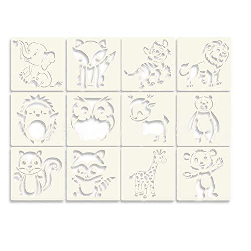 Cyleibe Plantillas de pintura con animales, plantillas de estarcido, reutilizables, plantillas para scrapbooking, álbum de fotos, tarjetas de regalo, regalos para niños