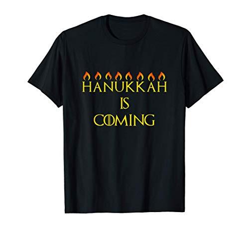 Hanukkah Is Coming Happy Chanukah Jewish Menorah Lit Holiday T-Shirt