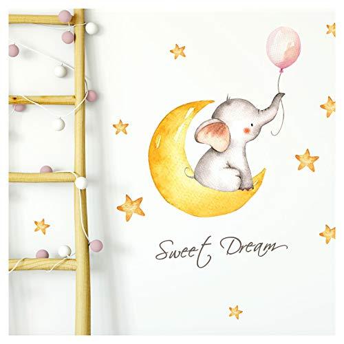 Little Deco Aufkleber Elefant mit Ballon rosa & Spruch Sweet Dream I 3 A4 Bögen I Mond und Sterne Wandbilder Wandtattoo Kinderzimmer Deko Babyzimmer Mädchen DL214-8