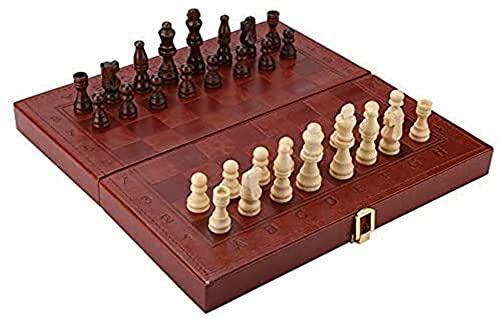Chess Board Set Children Chess Chess Checkers con placa plegable portátil Diseño de backgammon combinación de madera Juguetes de madera Set Tablero de mesa juego Juego de niños Regalos educativos para