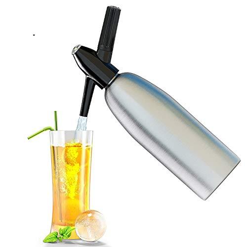 iLH Soda-Siphon-Kristall-Sprudelwassermaschine Soda-Siphon für die individuelle Zugabe von Kohlensäure in Leitungswasser verwendet Standard-CO2-Ladegerät (Nicht im Lieferumfang enthalten), 1 l,Silber