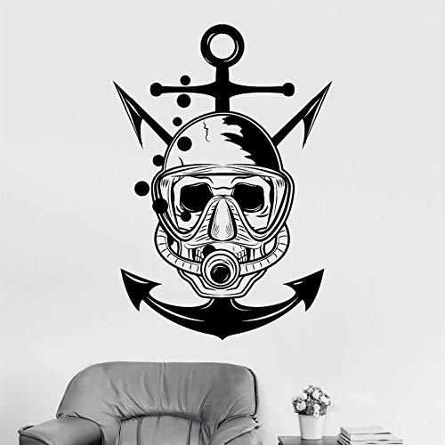 Schädeltaucher Marine Nautical Art Scuba Anchor Wandaufkleber Home Decor Zimmer Badezimmer Sea Ocean Decals Abnehmbares...
