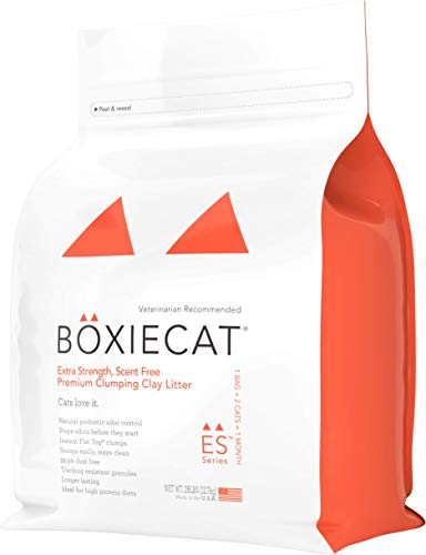 Boxiecat Extra Strength Premium Clumping Cat Litter - Clay Formula - Scent Free Multicat - Ultra Clean Litter Box, Probiotic Powered Odor Control, Hard Clumping Litter, 99.9% Dust Free