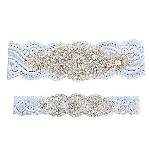 SJHFG 1 liguero de boda para mujer, sexy, encaje con lazo, delicado diamante de imitación de encaje para la pierna, anillo elástico para el pie, sección 1