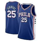 xisnhis Camisetas NBA,Camiseta de Baloncesto para Hombre,Hombres Jersey - NBA Phila 76ers 25# Simmons Bordado de Malla de Baloncesto Swingman Jersey(TAMAÑO: S-XXL)