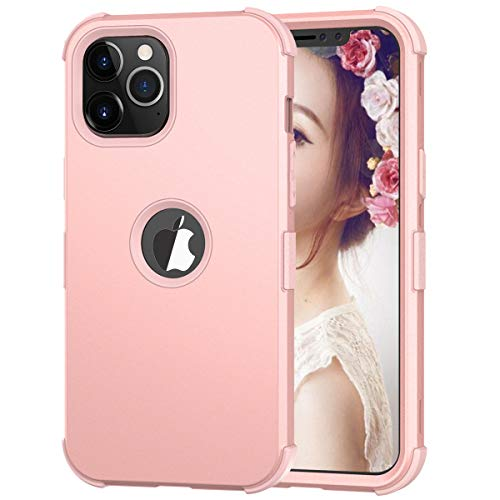 Hocase iPhone 12 Pro Case, 3-in-1 Hybrid Soft Silicone Rubber Hard PC Heavy Duty Shockproof Rugged Anti-Slip Bumper Protective Case for iPhone 12 Pro (6.1-inch Display) 2020 - Rose Gold