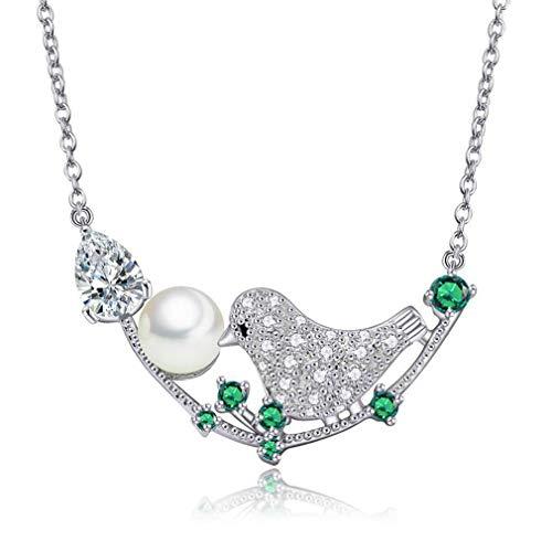 Yazilind Elster Vogel Anhänger mit Zirkonia Imitation Perle Silber Überzogene Kette Halskette Frauen Jahrestag Geburtstag Hochzeit Schmuck Geschenke