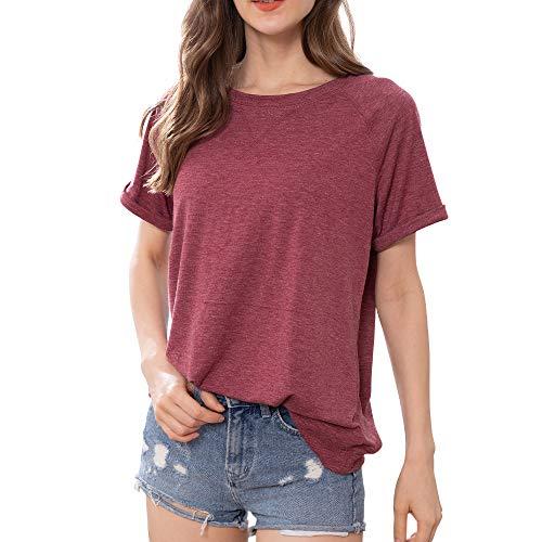 XBUTY Damen Sommer T-Shirt, Rundhals Kurzarm T-Shirt Lässig Lose Version