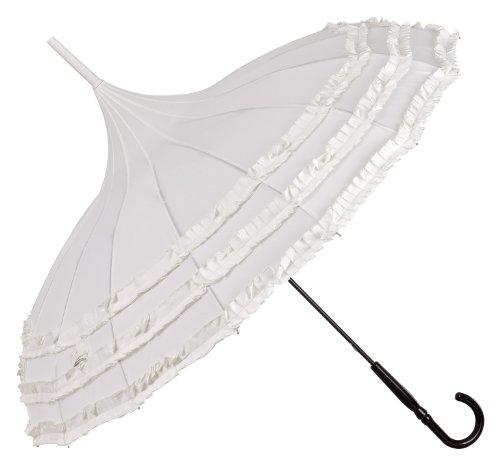 VON LILIENFELD® Regenschirm Damen Sonnenschirm Brautschirm Hochzeitsschirm Pagode Rüschen Amelie ecru