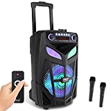 """Portable Bluetooth PA Speaker System - 600W 10"""" Outdoor BT Speaker - Includes 2 Wireless Microphones, Party Lights, USB SD Card Reader, FM Radio, Rolling Wheels - Remote Control - Pyle PPHP101WMB"""