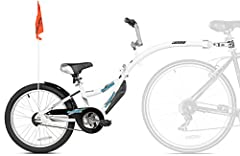 Sturdy bike trailer for teaching your child how to ride a bike Attaches quickly and easily to almost any bike with a seat post. It is made of heavy-duty steel. Acts just like a regular bike, with handlebars, seat, and pedals Quick-release detachment ...