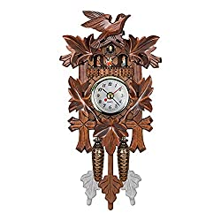 Home Decor Kawaii Cuckoo Clock, Wooden Wall Clock Forest House Chime Alarm Clock Coo Coo Clock Retro Clock Antique Pendulum for Living Room Office Decoration Study Rooms,Children's Rooms,etc.