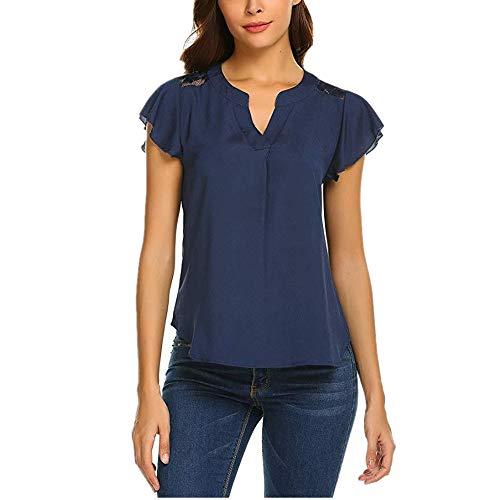 FIDOZ Damen T-Shirt Sommer Tops Chiffon Bluse Einfarbig Kurzarm Casual Blusen Tunika V-Ausschnitt Oberteil Tee Shirt Damen Chiffon-Bluse mit V-Ausschnitt Kurzarm-Spitze Hemden