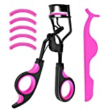 Eyelash Curler False Lash Curling Tool Beauty Supplies with 5 Eyelash Curler Silicone Replacement Pads & Tweezer,Fits All Eye Shapes Get The Perfect Curl for Women (Purple + Black).