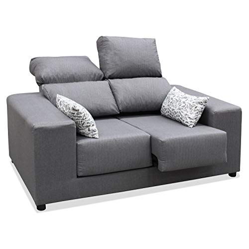 Muebles Baratos Sofa Dos Plazas, Subida A Domicilio, Reclinable y Extensible, Color Gris ref-56