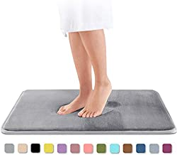 Genteele Memory Foam Bath Mat Non Slip Absorbent Super Cozy Velvet Bathroom Rug Carpet (17 inches X 24 inches, Gray)