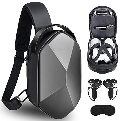 SARLAR Design Fashion Hard Travel Case for Oculus Quest 2 Headset and Touch Controller Accessories, Crossbody Shoulder Chest Backpack with Grips Cover and Lens Cover