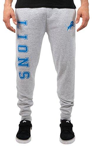 Ultra Game NFL Detroit Lions Mens Active Basic Jogger Fleece Pants, Heather Gray, Small