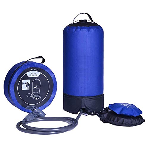 Gran capacidad: 15 L, con esta ducha presión para obtener un chorro continuo de agua durante 6 a 8 minutos (bombas aleatoria requerida). Sólo pesa 770 g, la ducha de camping incluye un tanque portátil, una bomba de pie, a 2 m de manguera larga de neo...