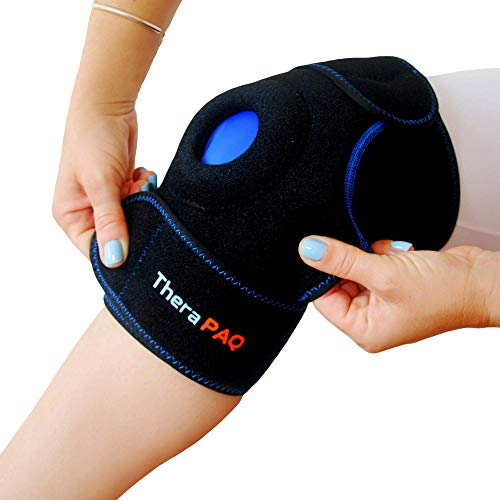 Knee Ice Pack Wrap by TheraPAQ: Hot & Cold Therapy Knee Support Brace - Reusable Compression Sleeve for Bursitis Pain Relief, Meniscus Tear, Rheumatoid Arthritis, Injury Recovery, Sprains & Swelling