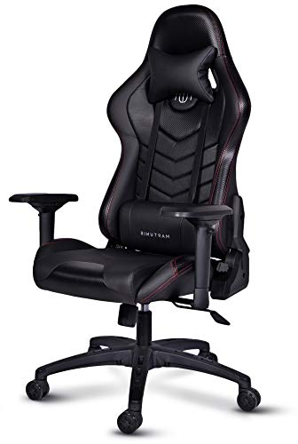 MARTUNIS - Gaming Chair With 4D Armrest - Carbon Fibre Game Chair - Gaming Chairs - Desk Chair, Sports Gaming Seat - Reclining PU Leather Office Chair - Swivel Chair with Lumbar and Headrest Pillow