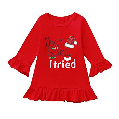 Cuteelf Kinder Langarm Hirsch Kleid Weihnachten Kleid Weihnachten Kind Baby Mädchen gekräuselte Buchstaben Prinzessin Kleid Kleidung süße komfortable Urlaub Elemente süße