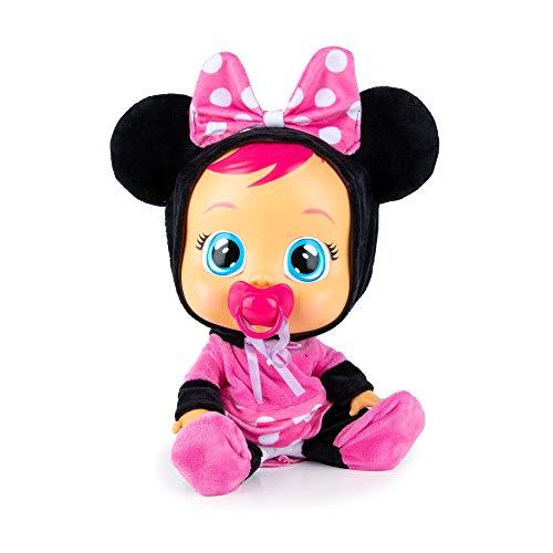 Bebés Llorones Minnie - Muñeca Interactiva que llora de verdad con chupete y pijama de Minnie