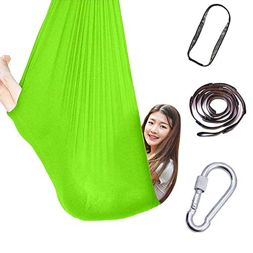 Therapy Swings for Sensory Indoor, Cuddle Hammock Adjustable Aerial Yoga, Cacoon for Children with Autism ADHD and Aspergers (Color : Grass green, Size : 150x280cm/59x110in)