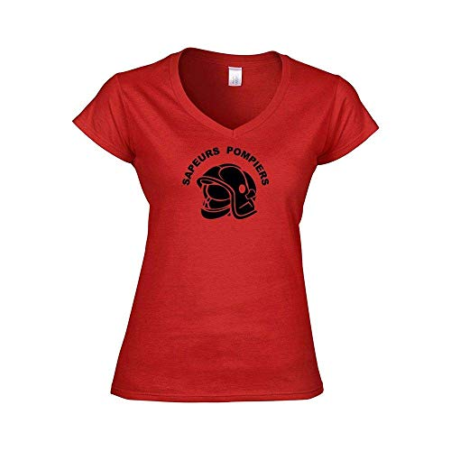 Mygoodprice T-Shirt Weiblich Kragen V Adventskalender Feuerwehreinsatz Feuerwehr - Rot, XXL