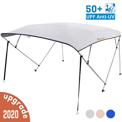 KING BIRD 4 Bow Bimini Boat Top Cover Sun Shade Boat Canopy Waterproof 1 Inch Stainless Aluminum Frame 54' Height with Rear Support Poles and Storage Boot (Grey, 67'-72')
