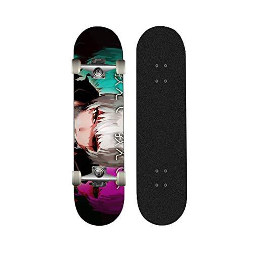 Yizhi Skateboards estándar, Patrón de Ken Kenki de Tokio Ghoul Kaneki 31'x 8' Doble Patada 7 Cubierta de Capa para Adultos Adolescentes Principiantes 883303
