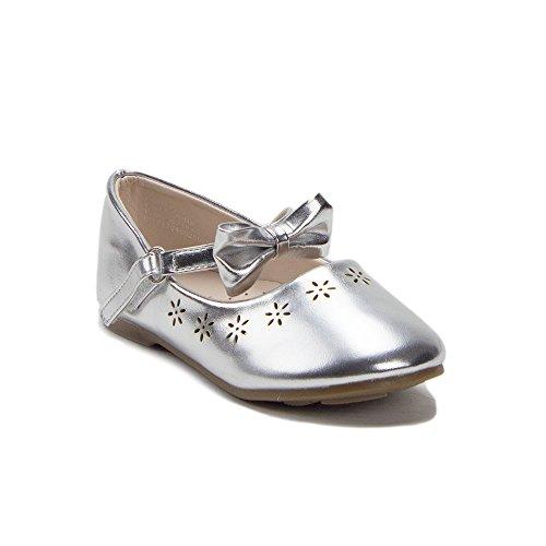 J'aime Aldo Toddler Girls Designer Mary Jane Bow Strap Round Toe Ballet Flats Shoes, Silver, 9