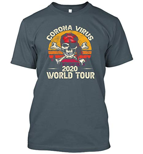 Corona-Virus World Tour 2020 Vintage Cool Designs Graphic T-Shirt (Dark Heather;L)