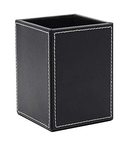 kawauso PUレザー ペン立て 長方形 無地 シンプル (黒・茶色) (黒)
