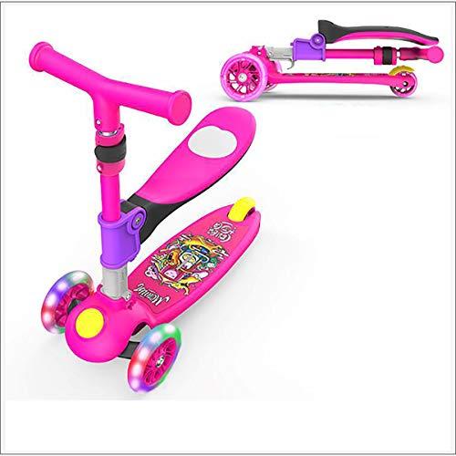 XER Tres niños Kick Scooter de Rueda - Niño Vespa con Altura Ajustable - con Light-Up Ruedas - Diseño Plegable - Regalos para los niños/niñas/niños,Rosado