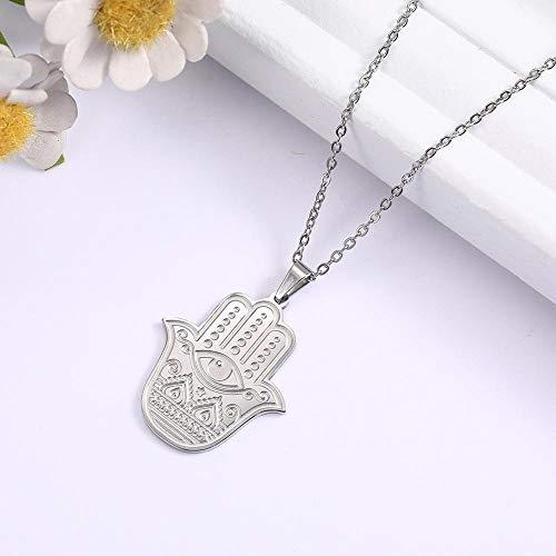 VAWAA Fatima Hand Hamsa Pendant Necklace for Women Evil Eyes Stainless Steel Link Chain Choker Adjustable Fashion Jewelry