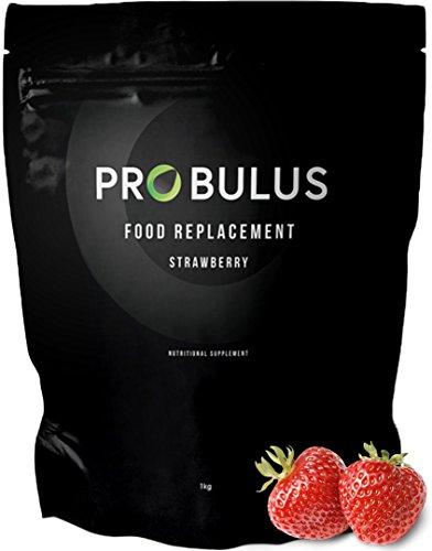 MEAL REPLACEMENT de Probulus: BATIDO PROTEICO sustitutivo de comida para ADELGAZAR. Sabor a fresa y chocolate, 100% NATURAL (1 kilo de producto). (fresa)