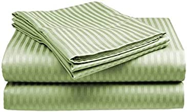 Hospital Bed Sheets Set-Sage Stripe 400 Thread Count 100% Cotton Sheet,Long-Staple Combed Pure Natural Cotton Bedsheets, Soft & Silky Sateen Weave-36 x84