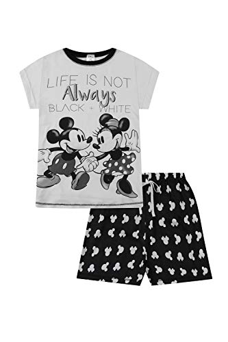 Disney Minnie und Mickey Damen Schlafanzug Life is Not Always Schwarz und Weiß Gr. 44/46 DE, weiß