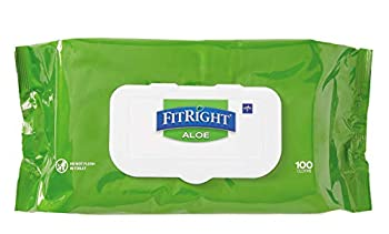Medline-MSC263954 FitRight Aloe Personal Cleansing Cloth Wipes Unscented 8 x 12 inch Adult Large Incontinence Wipes 100 count pack of 6 - White