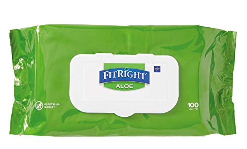 FitRight Aloe Personal Cleansing Cloth Wipes, Unscented, 8 x 12 inch Adult Large Incontinence Wipes,...