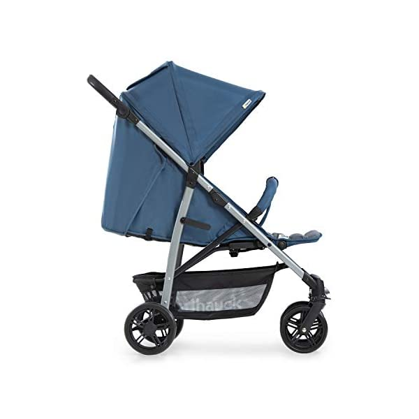 Hauck Rapid 4, 0 Months to 22 kg, Foldable, Compact, with one Hand, with Sleep Position, Height Adjustable Handle, Large Basket - denim/grey, Rapid 4, Up to 25 Kg Hauck Easy folding this pushchair is as easy to fold away as possible - the comfort stroller can be folded with one hand only within seconds, leaving one hand always free for your little ray of sunshine Long use this buggy can be used for a very long time. it is suitable from birth (also compatible with 2in1 carrycot or comfort fix infant car seat) up to a maximum of 22kg Comfortable back friendly push handle adjustable in height, the hood extendable; suspension, swivelling front wheels, soft padding, and large shopping basket 18