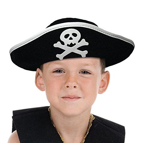 Boland 81909 - Kinderhut Pirat, Dreispitz, one size, Seeräuber, Kapitän, Freibeuter, schwarz, Totenkopf, Karneval, Fasching, Mottoparty, Halloween, Verkleidung, Kostüm, Theater