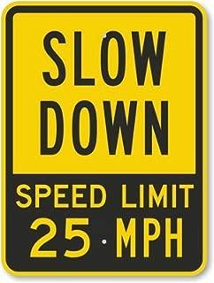 Slow Down Speed Limit 25 MPH , Fluorescent Yellow Diamond Grade Reflective Aluminum Sign, 18