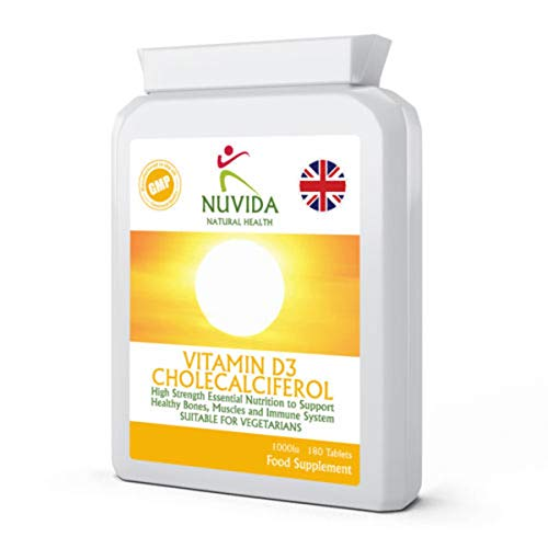 Vitamin D3 Cholecalciferol- 180 Tablets - 1000iu - The Sunshine Vitamin - Suitable for Vegetarians and Vegans