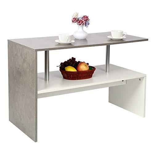 Dioche Mesa de café estilo nórdico, mesa rectangular con estante abierto para complementos de decoración, muebles de salón para el hogar, 90 x 42 x 60 cm
