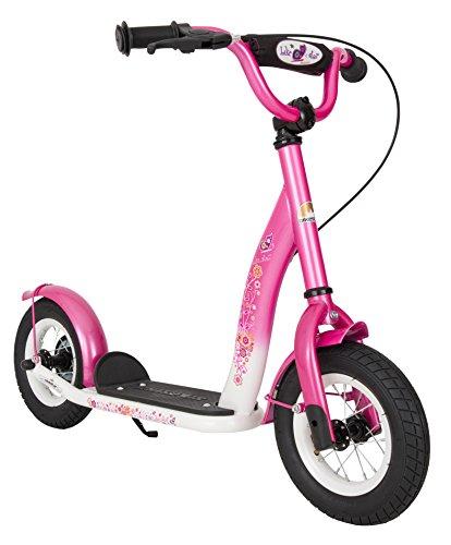 BIKESTAR Roller Kinderroller Tretroller Kickscooter mit Luftreifen für Mädchen ab 4-5 Jahre | 10 Zoll Classic Kinder Scooter | Pink & Weiß