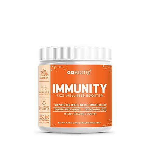Immunity Fizz Wellness Booster by GoBiotix – Vegan Antioxidant Immunity Powder | Organic Super-Food Extract | Elderberry, Turmeric, Vitamin C, D, B12 ● Non-GMO, Free of Soy, Gluten & Sugar (Orange)